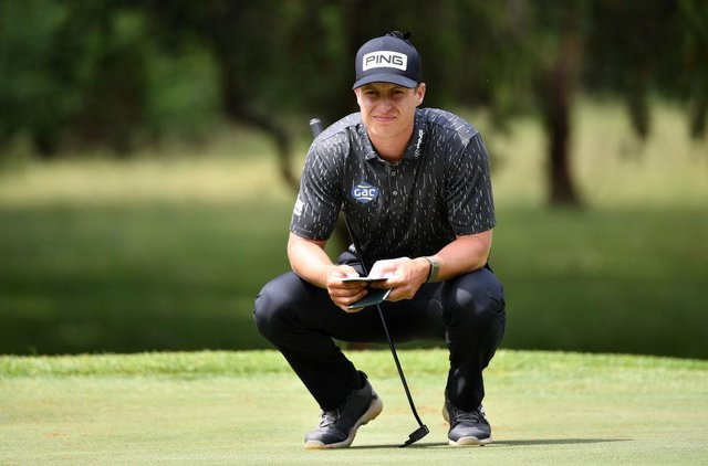 Calum Hill lines up a putt on the 11th hole during the final round of the Kenya Savannah Classic at Karen Country Club in Nairobi. Picture: Stuart Franklin/Getty Images.