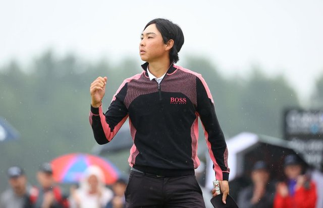 Min Woo Lee of Australia celebrates his play-off victory in the abrdn Scottish Open at The Renaissance Club. Picture: Andrew Redington/Getty Images.