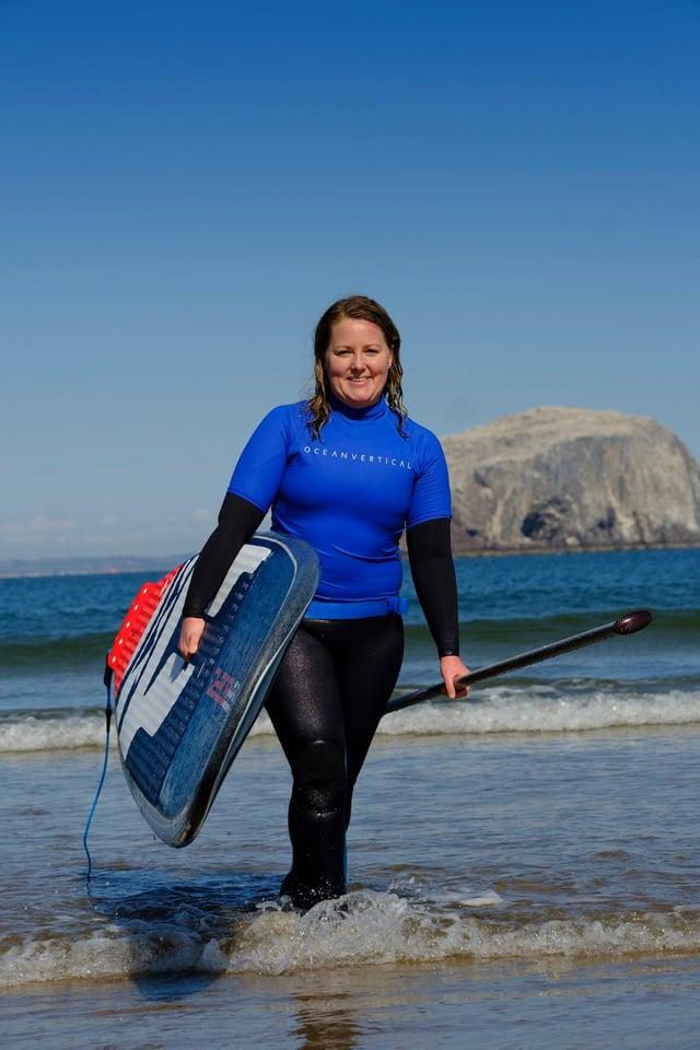 Mollie Hughes of Ocean Vertical at Seacliff Beach, East Lothian.  PIC: Mike Wilkinson