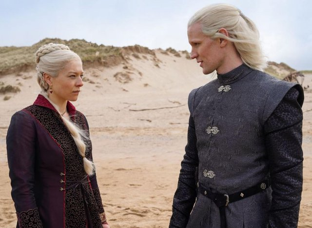 Emma D'Arcy and Matt Smith filming the new Game of Thrones series House of the Dragon