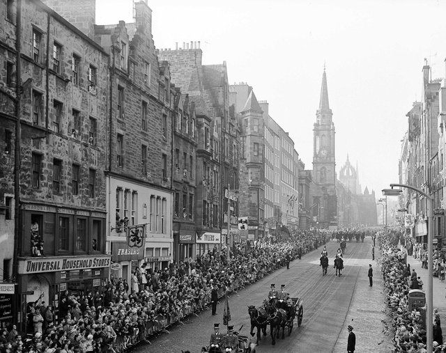 Crowds thronged the pavements of the Royal Mile in October 1962 to catch a glimpse of the Queen with King Olav of Norway during a royal visit.