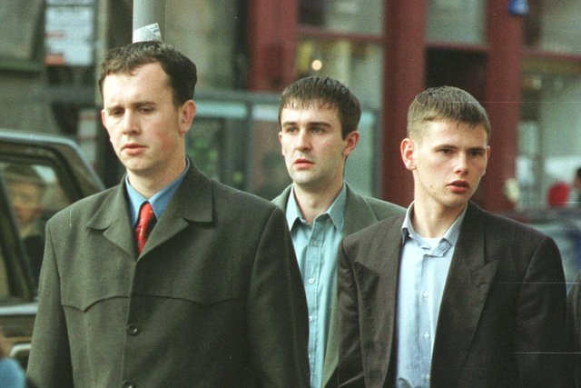 An image from the time of the rape trial more than 20 years ago. Pictured left to right - David Pugh, Kevin Kane and Brian Meighan. Pic: Ciaran Donnelly.