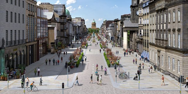 An artist's impression of plans to turn George Street into a European-style boulevard would see cars virtually banned (Picture: City of Edinburgh Council/PA Wire)