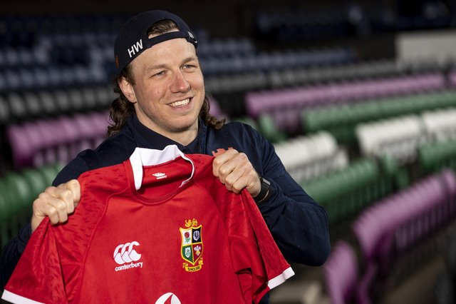 Hamish Watson familiarises himself with the Lions jersey. Picture: Craig Williamson/SNS