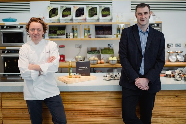 Chef and culinary ambassador Tom Kitchin with Compass Scotland managing director David Hay. Picture: @Schnappsphoto