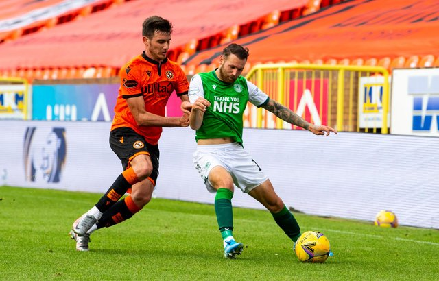 Hibs' Martin Boyle and Adrian Sporle of Dundee United vie for the ball during a recent clash between the two teams