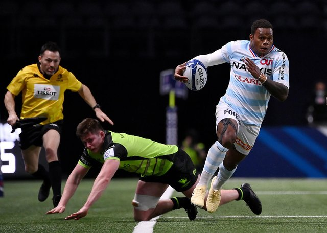 Edinburgh's defence coach Calum MacRae is wary of the threat posed by Racing's outside centre Virimi Vakatawa. Picture: Franck Fife/AFP via Getty Images