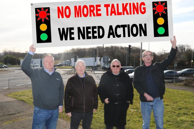 Stephen Curran (left) and fellow campaigners Raymond Diamond, Alex Bennett and Eric Bunyan - picture taken before Covid restrictions