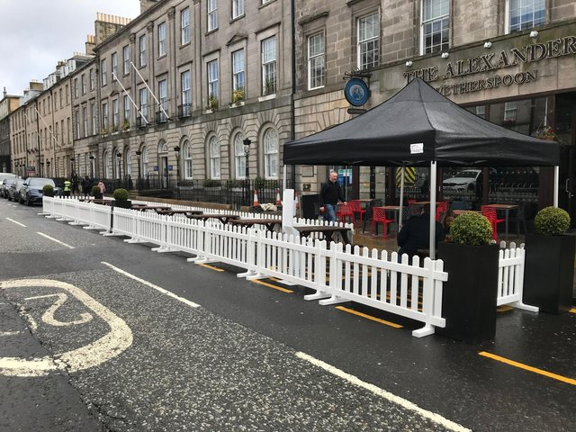 The outdoor seating area outside the JD Wetherspoon Alexander Graham Bell pub in George Street. Pic: supplied