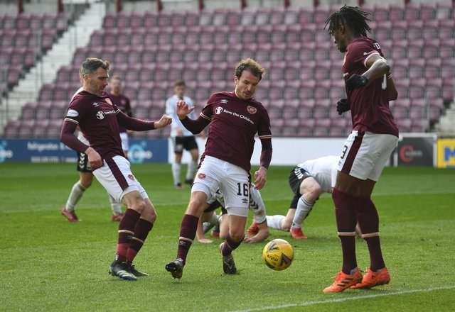 All the action from Hearts v Ayr in the Championship. Picture: SNS