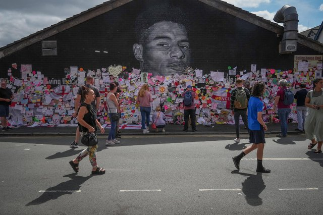 A mural of England footballer Marcus Rashford, which was defaced by vandals as he and other players were subjected to racist abuse, has attracted a huge amount of messages of goodwill from the public (Picture: Christopher Furlong/Getty Images)