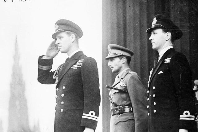 Duke of Edinburgh in Edinburgh taking the salute at the Mound