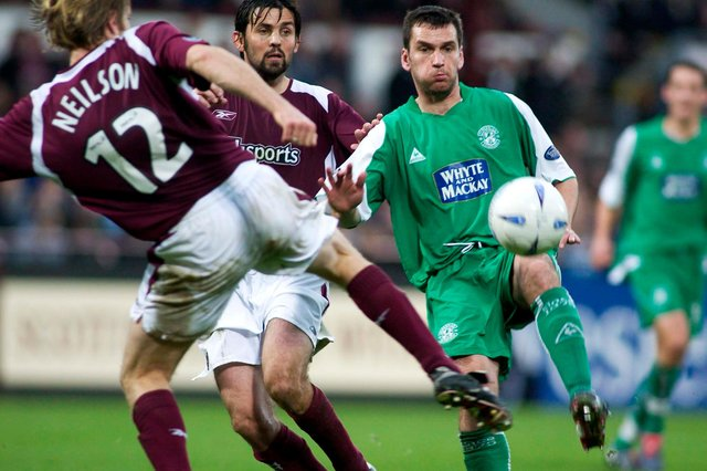 Stephen Glass (right) playing against Hearts while at Hibs - he helped the Easter Road club finish third in 2004/5