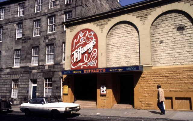 Exterior of Tiffany's discoteque in St Stephen Street, Stockbridge Edinburgh in November 1980. The nightclub sadly burned down a decade later.