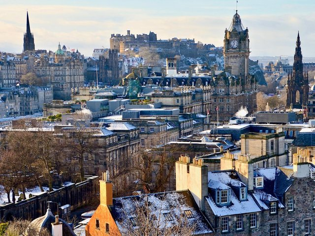 Edinburgh will see plenty of sunshine on Monday but the temperature will be close to freezing at times.