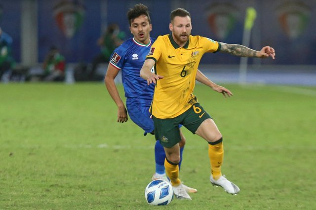 Martin Boyle in action against Kuwait during Australia's second phase of World Cup qualifying