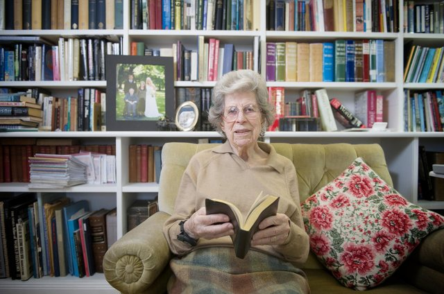 Ann Mitchell with her wartime diary at her home in Inverleith, Edinburgh, in 2014. Picture: Jane Barlow