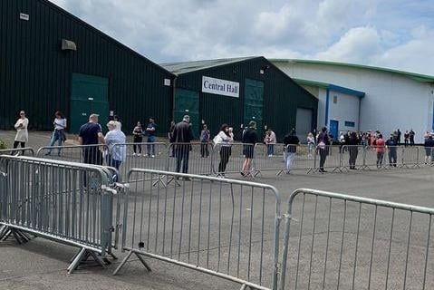 Queues at the Royal Highland Centre on Monday