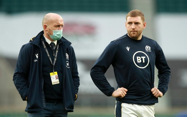 Scotland's Gregor Townsend and Finn Russell pictured during the 2021 Six Nations Championship. (Pic: Getty Images)
