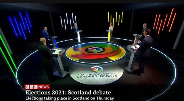 Scottish party leaders debate the Covid recovery on the election's final TV debate. Picture: BBC Scotland
