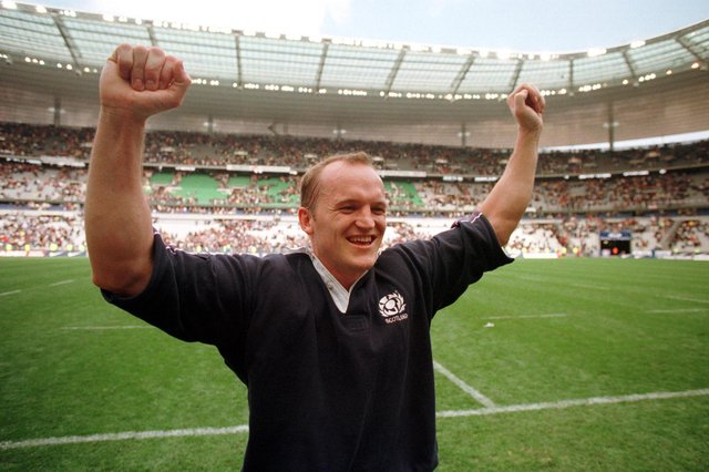 Gregor Townsend celebrates Scotland's stunning victory over France in Paris in the 1999 Five Nations Cup. Picture: Neil Hanna