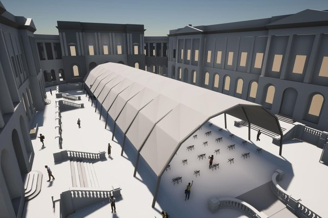 Edinburgh University's Old College Quad will host performances in a temporary outdoor venue this summer.