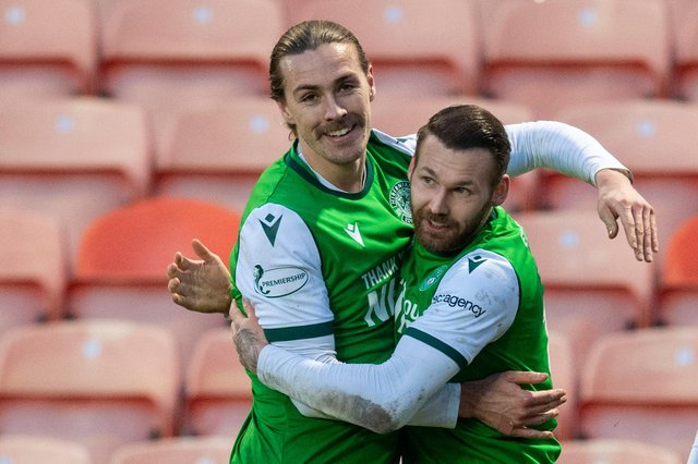 Jackson Irvine and Martin Boyle celebrate after combining for a goal against Dundee United in January