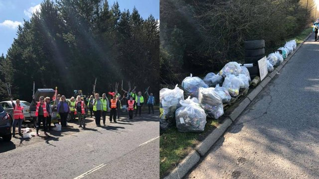 A volunteer group of twenty clearing up rubbish at Deans Industrial Estate, Livingston (Photo: Jason Wilcox).
