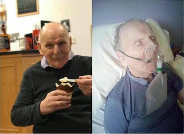 Rodger Laing died after testing positive for Covid-19 at Drummond Grange nursing home. These pictures show Mr Laing just hours before he died, and in better times just a few weeks before his death.