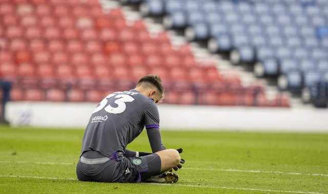 Hibernian's Matt Macey at full time  during the Scottish Cup final match between Hibernian and St Johnstone at Hampden Park, on May 22, 2021, in Glasgow, Scotland. (Photo by Craig Williamson / SNS Group)