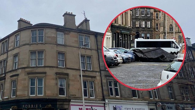Images of the roof which was blown off a building in Leith (Photo: Lisa Ferguson).