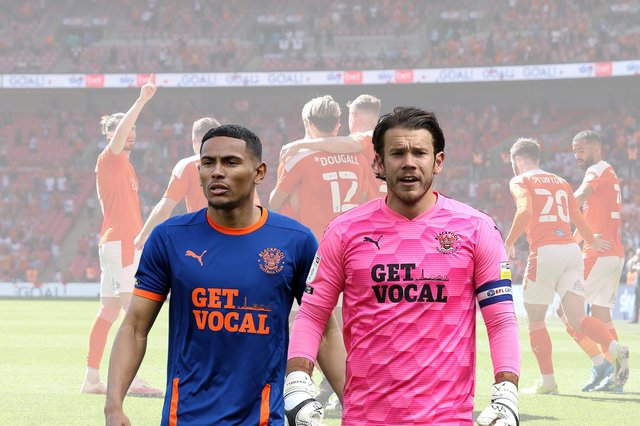 Demetri Mitchell, left, and Chris Maxwell tasted play-off success at Wembley with Blackpool