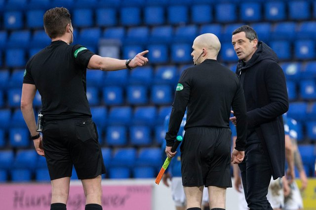 Hibs manager Jack Ross with referee David Dickinson following his booking during the Premiership loss to St Johnstone . Photo by Alan Harvey / SNS Group