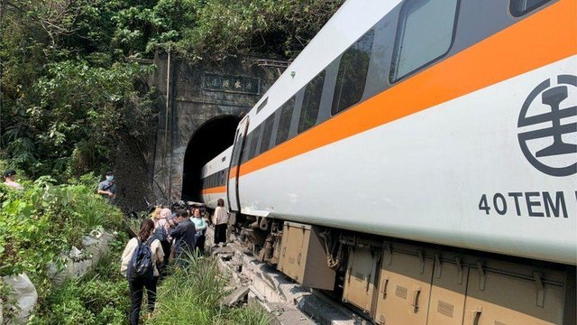 At least 36 people have been killed with many more injured after a train in Taiwan derailed inside a tunnel. Photo by HANDOUT/Central Emergency Operation Cent/AFP via Getty Images)