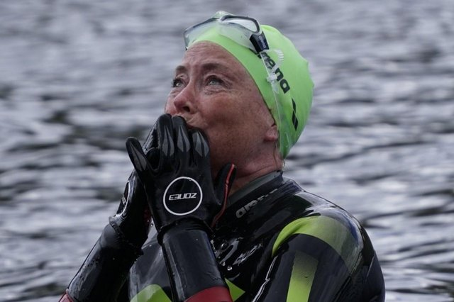 Emotional: Donna is thinking of Christopher as she completes her swim