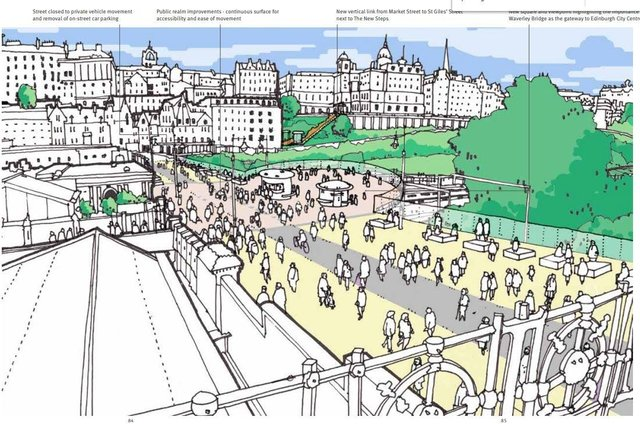 A artist's impression of how the city centre transformation and city mobility plans could change Edinburgh's Waverley Bridge