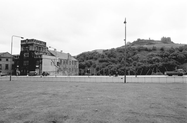 The Greenside Place gap-site in Edinburgh, where a new Holiday Inn hotel was due to be built, August 1988.