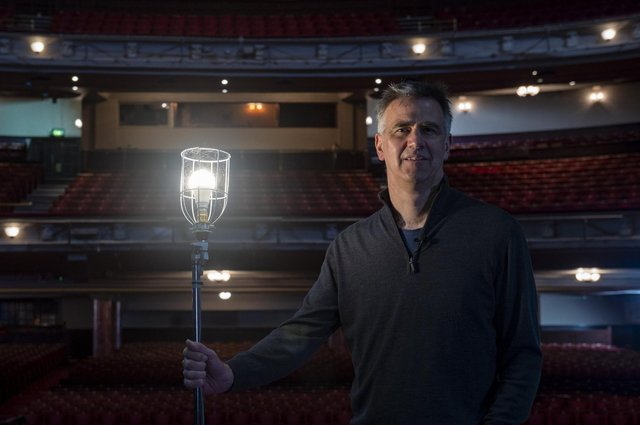 Inside the Edinburgh Playhouse, Theatre Director Colin Marr with the venues ghost light