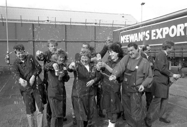 Australian company Elders IXL, were planning a merger with Scottish & Newcastle Breweries in 1988. S&N employees at Fountainbridge in Edinburgh celebrate the news that the bid had failed in March 1989.