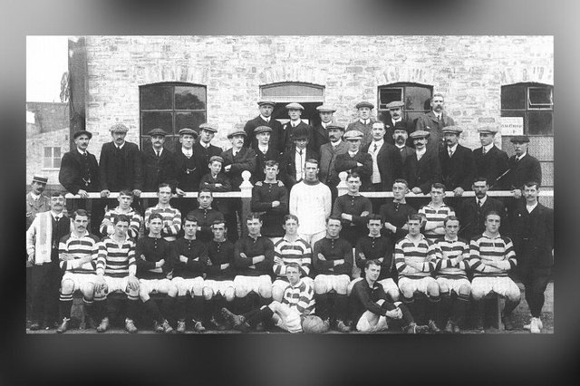 Dundee Hibernians and Edinburgh Hibernians (hooped shirts) teams and staff come together for a picture to mark their friendly match to open Tannadice Park in 1909
