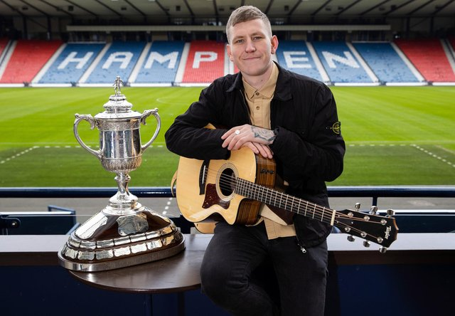 Singer Nathan Evans conducted the Scottish Cup Fourth and Fifth Round draws at Hampden Park, on April 04, 2021, in Glasgow, Scotland. (Photo by Alan Harvey / SNS Group)