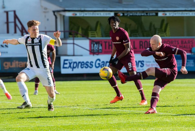 Steven Naismith tries to break the deadlock during Hearts' 0-0 draw with Dunfermline.