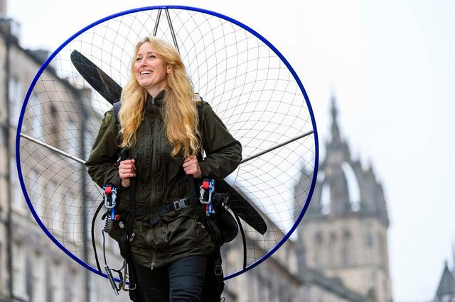 Sacha Dench with her Paramotor, Sacha is giving a talk at this years Edinburgh Science Festival