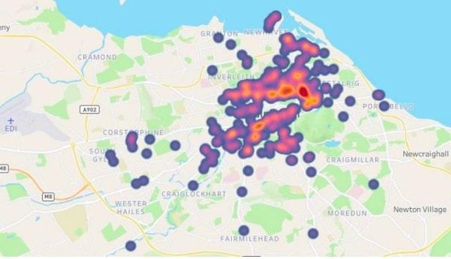 Heat map of commercial short-term lets in Edinburgh created using crowdsourced data from Homes First survey (January – June 2020) on Tableau Public.