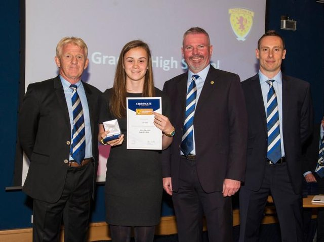 Leah Eddie graduated from the SFA performance school under Ian Ross (right) when Gordon Strachan was national team manager and Brian McClair performnce director (Picture: SNS)