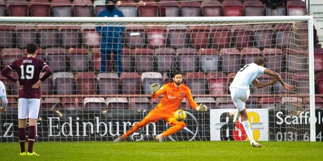 Manny Duku puts Raith Rovers 2-0 ahead at Tynecastle.