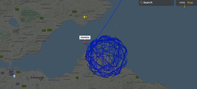 The smaller plane focused on East Lothian, forming very distinct circles.