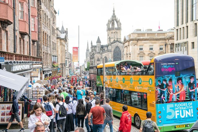 The High Street is usually busy with people and traffic