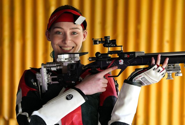 Seonaid McIntosh at her shooting range in Alloa. Picture: Andrew Milligan/PA Wire