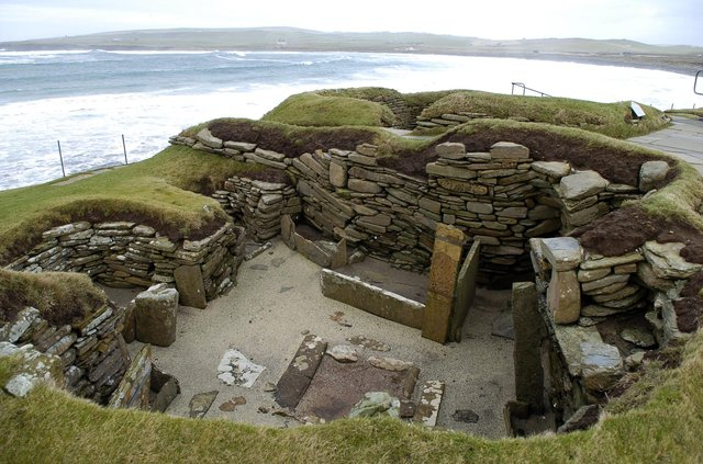 The 5,000 year old village of Skara Brae on the West Mainland, Orkney.